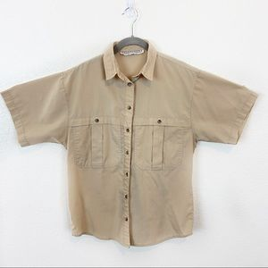 Vintage Safari Style Camp Shirt Cotton Blend Tan